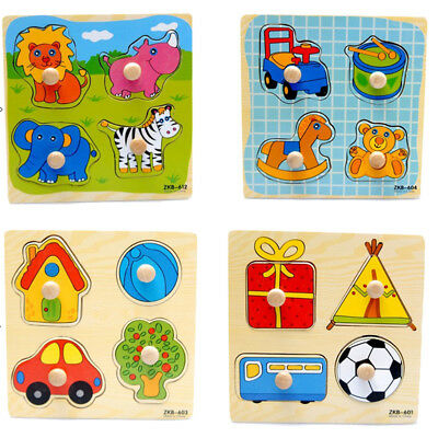Cartoon Wooden Jigsaw Puzzle Toy Children Kids Baby Learning Educational Gift US