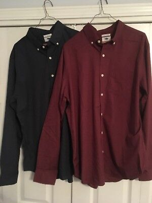 NWT Old Navy Men's Slim Fit Poplin Shirts, Large, Red and Blue (lot of 2)