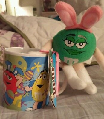 M&M's Easter GALERIE ceramic coffee mug w/ Green Girl M&M Plush. New with Tags