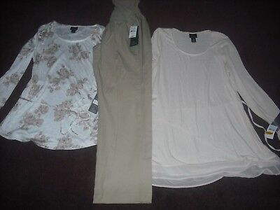 Womens Maternity NWT Lot 3 Pants Tops Size L Large Super Nice Retail 134.