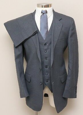 Vintage Mens 42R Mulias & Ellias 3 Piece Grey w/ Blue/Brown Stripe Wool Suit