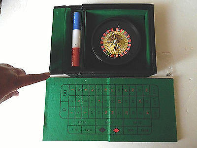 Mini Roulette Wheel Game Set W/Roulette Wheel, Felt & Balls In Leather Case