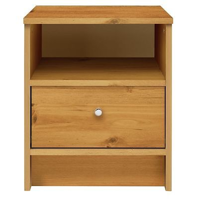 HOME New Malibu 1 Drawer Bedside Chest - Pine Effect.