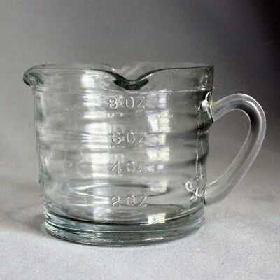 Vtg Old 1 cup measure Ripple Clear Glass MEASURING CUP 3 SPOUT Mint!