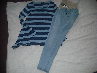 Womens Maternity NWT Oh Baby by Motherhood Lot 2 Jeans Tops Size L Retail 100