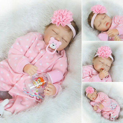 22'' Lifelike Reborn Baby Girl Doll Handmade Vinyl Newborn Dolls +Clothes Gifts