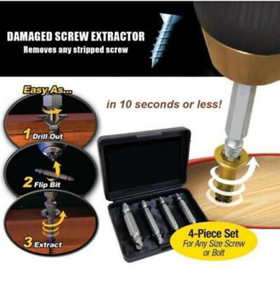 Screw Extractor Drill Bits Guide Broken Damaged Bolt Speed Out Remover 4PCS/ Set