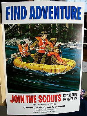 1964 Covered Wagon Council Boy Scout Find Adventure Join The Scouts Poster BSA
