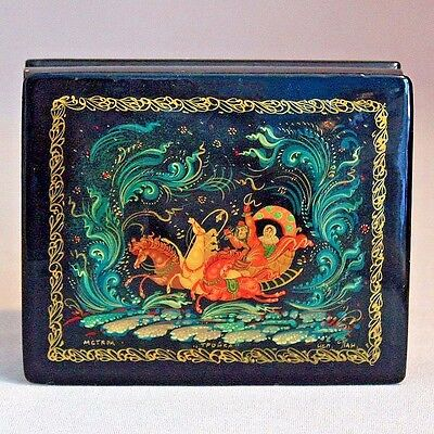 Antique Vintage MYSTERA RUSSIAN LAQUER BOX TROIKA Hand Painted SIGNED Trinket