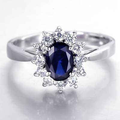 QCN95 Handmade 2.50CT Natural Sapphire Mosaic 14K White Gold Ring  Size US 7
