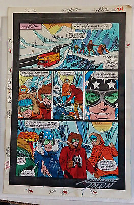 Infinity, Inc. #5 Page 19 1985 Handpainted Comic Production Art-Starspangled Kid