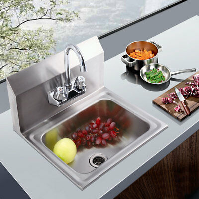 "Wall Mounted Stainless Steel Hand Sink,With Faucet 17"" x 15"" Silver"