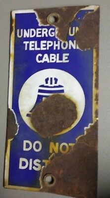 VINTAGE BELL SYSTEM UNDERGROUND TELEPHONE CABLE PORCELAIN 7x3.5 SIGN