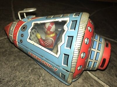 Vintage Japan Tin Toy Friendship Space Capsule Friction Toy