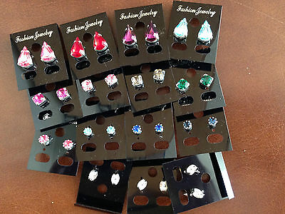 JOB LOT-12 pairs of 3 different styles and coloures diamonte stud earrings.