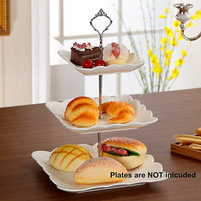 3 Tier Stainless Steel Round Cupcake Stand Wedding Birthday Cake Display Tower #