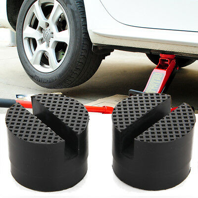 2x 5cm Car Universal Slotted Frame Rail Floor Jack Guard Adapter Lift Rubber Pad