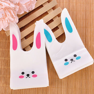 50pcs Pink Cartoon Rabbit Ear Cookie Packaging Candy Gift Bags Party Decorations