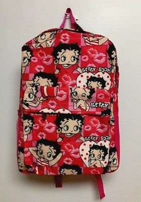 """Betty Boop Pink Canvas All Over Print 16""""backpack"""