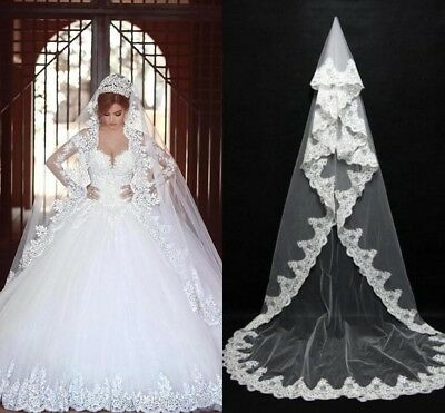 White/Ivory Cathedral Bridal Veil Without Comb Lace Edge Wedding Accessories