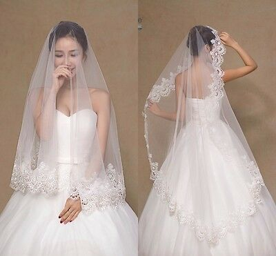 1 Tier White Wedding Bridal Veil With Comb Lace Edge Waist Length 1.5 M Long