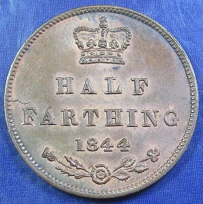 1844 Victoria tiny copper Half Farthing in a beautiful grade