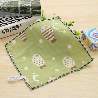 4Layers Baby Infant Cotton Handkerchief Face Bath Towel 25*25cm Green Fish Print