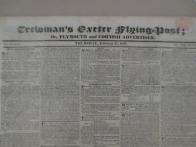 1831 Trewman's Exeter Flying Post; or, Plymouth & Cornish Advertiser Newspaper