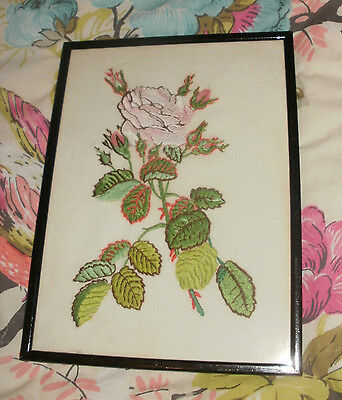 Vintage Black Wooden Photo Frame Embroidery Flowers Embroidered Roses FREE POST