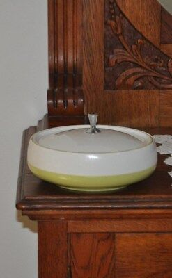 Vintage/retro Marquis ware food storage with lid - Australian made green/white