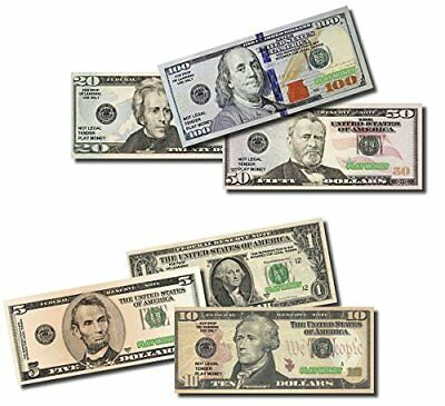 6 Set of Real looking Paper Play Money Smaller Size Pack of 1 5 10 Dollar Bills