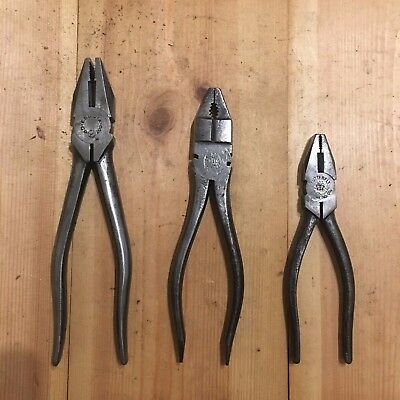 3 Combination Pliers - various brands - Old Vintage Tools