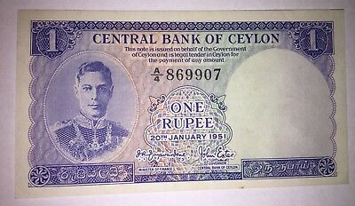 CRISP CEYLON BRITISH 1951 RARE ONE RUPEE BEAUTIFUL BANK NOTE P-47 ExcellentCondi