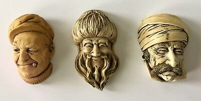 Vintage Head Wall hanging PLAQUES Lot Of 3 Chalkware Or Plaster(?)