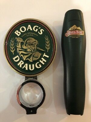 Boags Draught Metal beer tap badge/decal with holder + Handle Used - Collectable