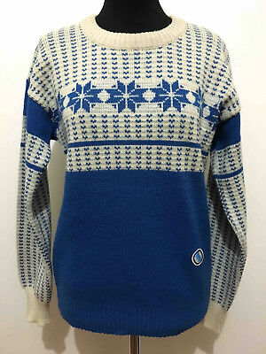 CULT VINTAGE '70 Maglione Donna Sci Lana Wool Woman Sky Sweater Sz.M - 44