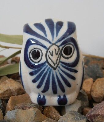 Handpainted bird OWL glazed stoneware figure clay ornament Mexican folk art