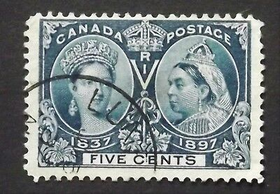 CANADA STAMPS 1897 5c JUBILEE ISSUE USED. X2 SCAN