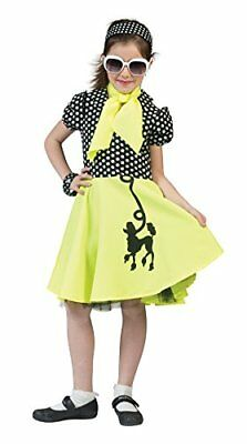 Girls Poodle Dress Yellow/Black Costume Rockabilly Rock n Roll 50s Fancy Dress