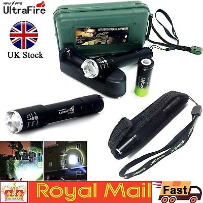Tactical 20000LM T6 LED Flashlight Zoomable Torch Lamp+18650+Charger+Case Set