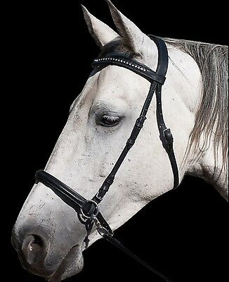 Clearance SALE! Amazing 2 In1 Black Crystal Bitless Bridle Sidepull/Crossunder