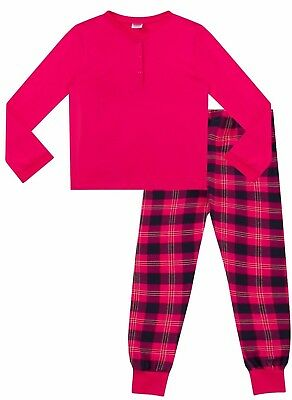 Childrens - Girls  Pyjamas Plain Long Sleeve Top & Check Printed Bottom  Pink