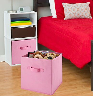 3PK Foldable Nonwovens Storage Boxes Square Organizer Container With Handle New