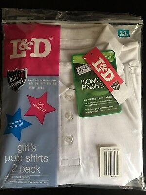 Bnwt Pack Of 2 Girls White School Polo Shirts Age 6-7 Years New