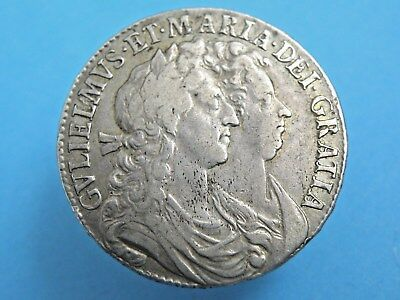 1689 William and Mary - SCARCE 'L over M' - SILVER HALFCROWN COIN - Good Grade