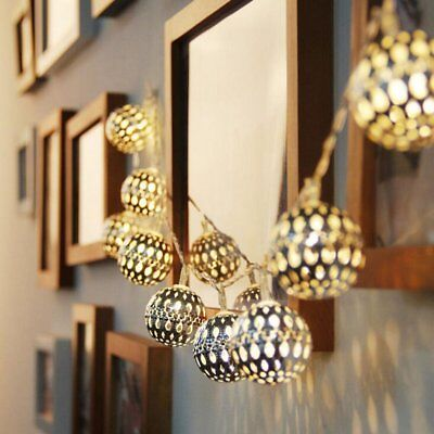 20 LED Warm White Solar String Lights Moroccan Style Metal Ball Xmas Fairy Lamp