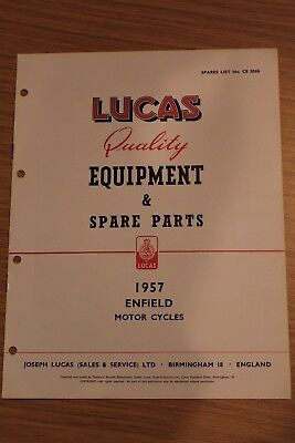 Enfield Motorcycles 1957 Lucas Quality Equipment & Spar Parts Original Booklet