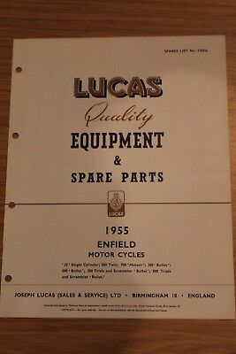 Enfield Motorcycles 1955 Lucas Quality Equipment & Spare Parts Original Booklet