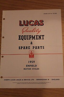 Enfield Motorcycles 1959 Lucas Quality Equipment & Spare Parts Original Booklet