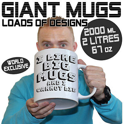 Giant 2 Litre Mug Large Selection of Funny Massive 2000 ml Mugs The Perfect Gift